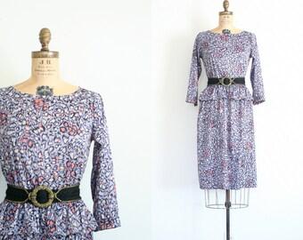 10 DOLLAR SALE! // animal print peplum dress - dove gray dress / vintage early 80s graphic print dress / 1980s punk dress - New Wave dress