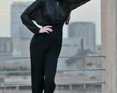 Vintage 80s Jumpsuit - Womens Black Jumpsuit - Disco Jumpsuit - Small