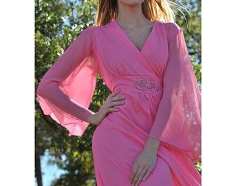 Bohemian Long Maxi Dress - Vintage 70s Hippie Dress - Romantic Angel Wing Festival Dress - Sheer Pink Maxi Dress - Medium - Large