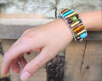 Guitar String and Bullet Bracelet - aqua, olive, brown, rust, purple - for teens and adults - recycled/upcycled jewelry - under 35.00