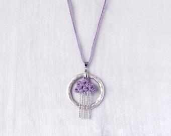 Necklace Lavender Rain, Rain Cloud Pendant, Romantic Statement Necklace, purple rain, silver fashion jewelry, extravagant textile jewellery