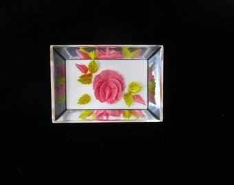 Floral Reverse Carved Pink Roses Lucite Brooch, Faceted Lucite