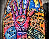 psychic fortune teller, funky art photo, all seeing eye, colorful psychadelic hand eye star moon, funky mystic seer