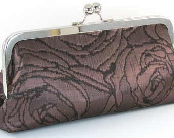 Bronze Evening Clutch - Floral Metallic Purse - Handmade Women's Metal Frame Handbag