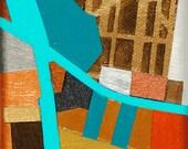 Up A Farm Road, mixed-media/acrylic on canvas, map art