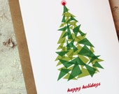 Christmas Cards Set of 10 - Christmas Tree Mod Holiday Cards with Kraft Envelopes - Happy Holidays