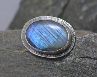 Metalwork Blue Labradorite Brooch, Sterling Silver, Sweater Pin, Bright Blue Flash, Fine Jewelry, Antique Inspired Pin, Totally Handmade