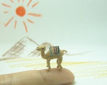 0.6inch crochet miniature micro camel - micro amigurumi - dollhouse decorative stuffed animal