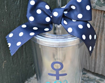 15 Anchor Monogram CLEAR Personalized - 16oz - Tumbler cup with Lid & Straw - Nautical - Bridesmaid Gift