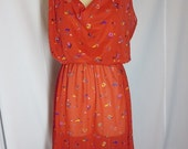 70s Sheer Sun Dress - Vintage 1970s Red Floral Sun Dress - Boho Summer Dress - Floral Print Sz L