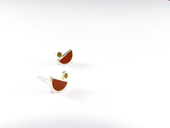 Sterling Sliver Earrings, Little Birds, Ear Studs, Modern, Contemporary, Geometric
