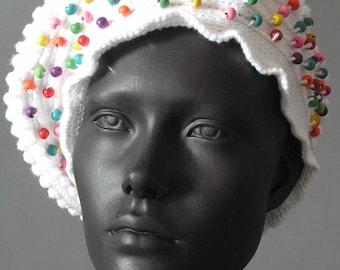 White Crochet Hat with Fingerless Gloves...