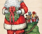 SANTA CLAUS - Christmas Rubber Stamp - Inkadinkado Wood Mounted Rubber Stamp - Santa Rubber Stamp Wreath Bag of Toys - Card Making