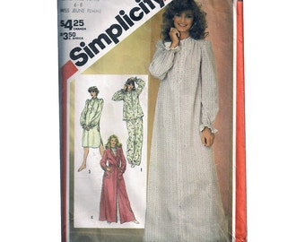 """Button Front NIGHTGOWN Sewing Pattern Nursing Nightie Pajamas Robe Housecoat Size 6 8 Bust 30.5-31.5"""" (78-80 cm) Simplicity 5737"""