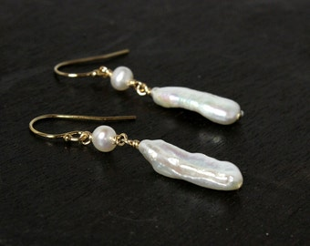 14ky Goldfilled Stick Pearl Dangle Earrings