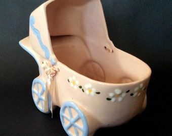 New Born, Baby Shower, Housewarming Gift, Planter/Vase / Pink and Blue Baby Buggy / Vintage
