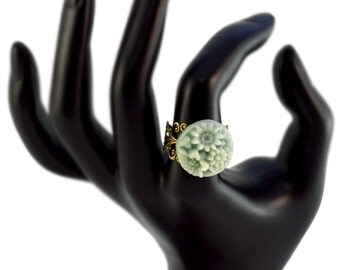 Blue Green Flowers on Bronze Adjustable Ring