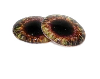 Burnt Sienna and Pale Yellow Glass Eyes - Pair of 2 16mm - Fantasy Taxidermy Eyes for Jewelry Making or Scrapbooking