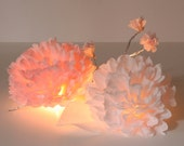 Paper Peony Centerpiece - Illuminated Coffee Filter Flowers Wedding Event Decoration