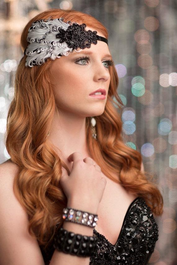 Noir grand Gatsby le magnifique bandeau, bandeau clapet, rugissant des années 20 blanc