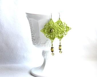 Green Lime Crocheted Square Motif Dangle Earrings
