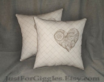 Cream & Gold Lace heart decorative pillow 14x14 inch embroidered throw pillows (set of 2)- in ivory with brass stitches- adjustable in color