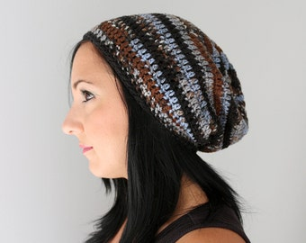Lakeside Mix Blue and Brown Philly Slouchy Beanie, Crochet Fashion Accessories for Men and Women