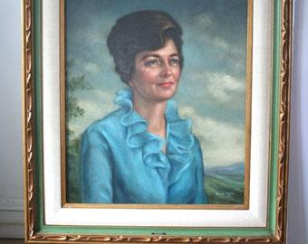 Gorgeous Large Vintage Portrait Painting: Wanda