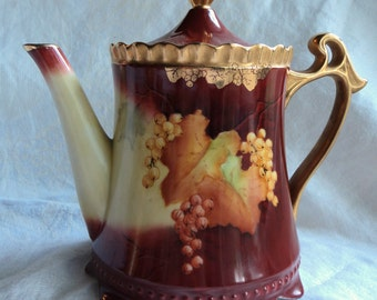 teapot sugar creamer set fall colors grapes leaves hobnail guilded gold
