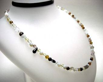 Black, white, neutral gemstone necklace: Colonize - Gifts under 30, gemstone necklace, boho jewelry, eclectic, layer necklace, unisex