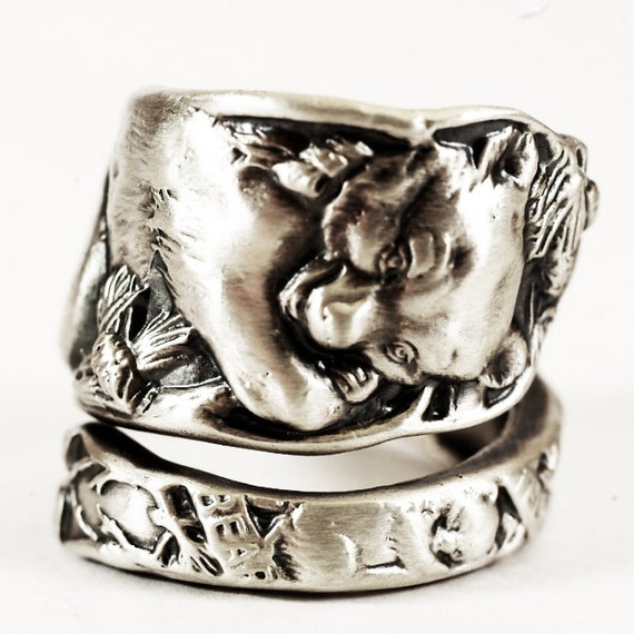 Bear In Hing Reng 2: Teddy Bear Rings Spoon Ring Sterling Silver Mama Bear Baby