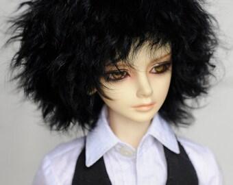 Short Black Curly Tibetan Mohair Wig for Volks BJD SD Dolls