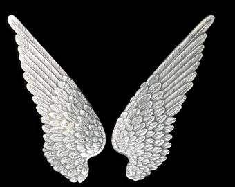 Silver Plated Brass Large Bird Wings Stamping 90 mm x 34 mm Qty 1 Pair One Made in the USA Archangel or Demon Wings
