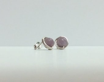 Lilac stone stud earrings - Sterling silver or Niobium handmade post earrings - Free shipping to CANADA and USA
