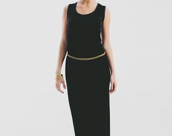Vintage 80s  Black Long Velvet Dress /  Maxi dress size m -l - Large