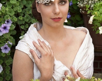 Dutch design bridal bandeau headpiece with lots off flowers , swarovski cristals , beads , pearls and lace
