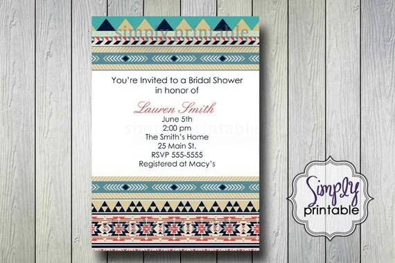 Tribal Bridal Shower Invitation (Printable Digital File)