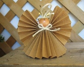 Rustic Kraft Brown Angel Christmas Ornament Brown and Cream Christmas Angel Primitive Paper Ribbon Angel SnowNoseCrafts