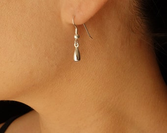Teardrop Earrings in Solid Sterling Silver, Gold version available also Mom Gifts for her
