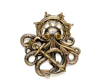 Steam Punk Pin, Steampunk Hat Pin, Octopus Brooch Kraken Cthulhu, Steampunk Goggles, Steampunk Pirate Steampunk Jewelry VictorianCuriosities