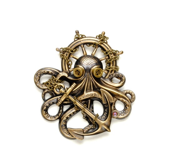 Steam Punk Pin, Steampunk Hat Pin, Octopus Brooch Kraken Cthulhu, Steampunk Goggles, Steampunk Pirate Steampunk Jewelry VictorianCuriosities