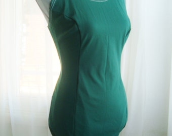 1950's Swim Team Bathing Suit, Vintage Swimwear, Dark Green, Size  Extra Large