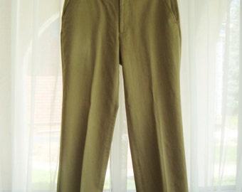Vintage Men's Dress Pants, 1980's Tan Slacks by Campus, Flat Front, Size 30