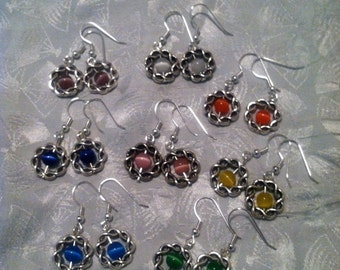Celtic catseye earrings.