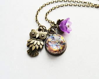 Get 15% OFF -  Owl Charm /Purple Frost Acrylic Flower/Amethyst Opal Glass Cabochon Antique Bronze Necklace - Valentine's Day SALE 2016