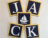 Yellow Navy Blue Nautical Baby Boy Nursery, Custom Name Letter Plaques Tiles / Sailboat Room Decor, 6 x 6 Personalized Wooden Wall Blocks