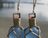 Periwinkle Colored Glass Fishing Float Earrings with green Nets and Fair Trade Sterling Silver Findings