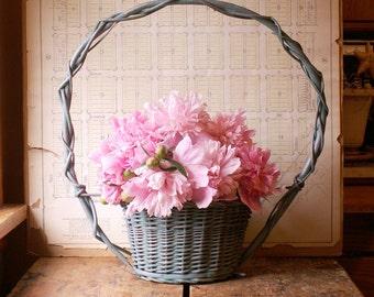 Vintage Light Blue Wicker Floral Planter Basket  - Perfect Spring Easter Decor!