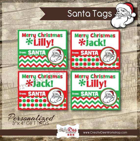 Printable santa tags santa gift tags personalized santa like this item negle Choice Image