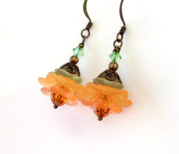 Lucite flower crystal earrings - layered earrings, orange and green, antiqued brass, Austrian crystal, orange Fall jewelry, lucite jewelry